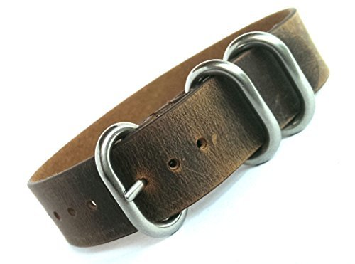 time+ 18mm 3-Ring NATO Zulu Distressed Vintage Leather Military Watch Strap Rust Brown