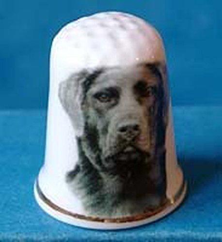 Black Labrador Porcelain - Porcelain China Collectable Thimble --- Black Labrador Dog