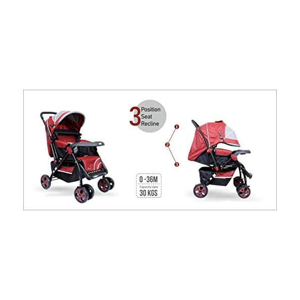 1st Step Baby Pram Cum Stroller with Canopy – 3 Point Safety Harness/Reversible Handle Bar/Reclining Seat/Extended Canopy/Adjustable Leg Rest – Maroon Grey