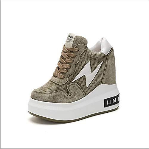 ZHZNVX Zapatos de Mujer Nubuck Cuero Spring Comfort Sneakers Flat Heel Negro/Gris / Verde Green