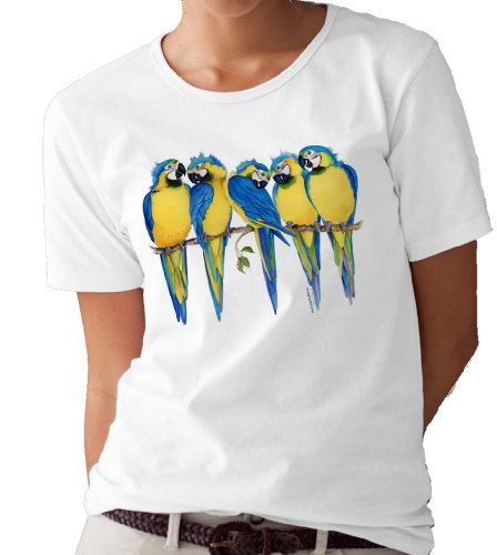 (Blue and Gold Macaws T-Shirt/tee by Valerie Pfeiffer - Large)