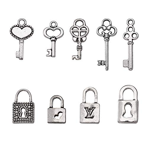 Kissitty 50pcs Antique Silver 10 Styles Vintage Skeleton Small Key & Lock Charms Collection 10~21.5x6.5~10mm Lead Free for DIY Jewelry Craft Making