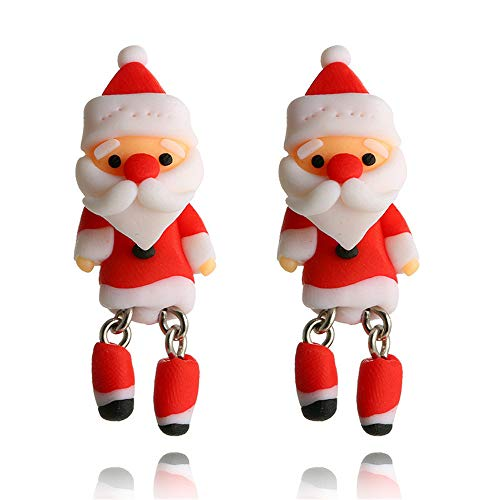YOMXL Christmas Jewelry Accessories,Women Girls Santa Claus Earrings Cute Red Cartoon Drop Dangle Earrings Best Gift ()