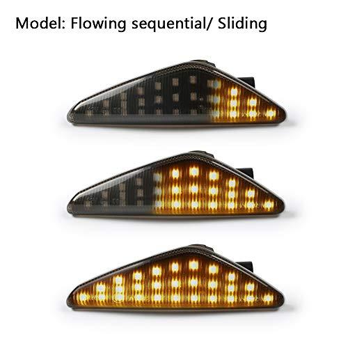 GemPro 2Pcs Dynamic Amber LED Side Marker Turn Signal Light For BMW E70 X5 E71 X6 F25 X3, Replace OEM Side Marker Light ()