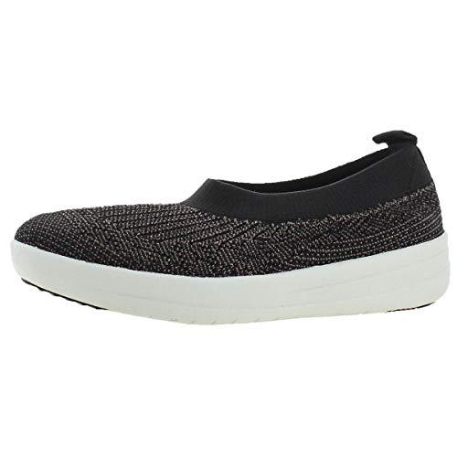 Rhinestone Flat Pull (FitFlop Womens Uberknit Slip On Black/Bronze Metallic Sneaker - 10)