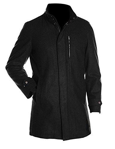 Men's Wool Blend Black Long Coat