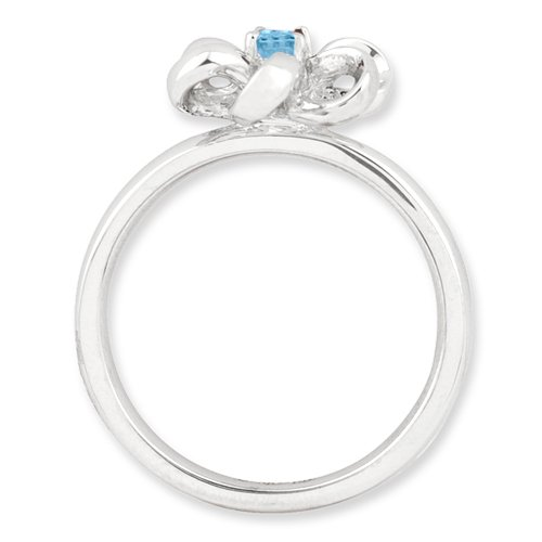 Sizes 5-10 Stackable Expressions Sterling Silver Polished Blue Topaz Flower Ring