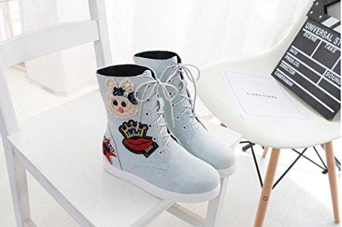 Ei&iLI Femmes d'automne / hiver Fashion bottes toile Casual talon plat noir / bleu / gris , grey , 34