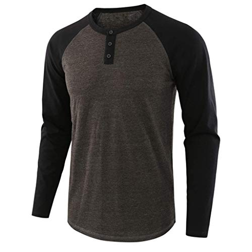 BeautyVan Mens Casual Slim Fit Henley T-Shirt Long Sleeve Patchwork Cotton Thermal Tee (Best Price Leather Sofas Uk)