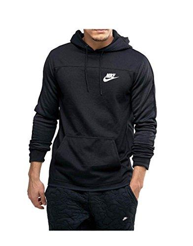 Nike Mens Sportswear AV15 Pull Over Hooded Sweatshirt Black/White 812517-010 Size X-Large