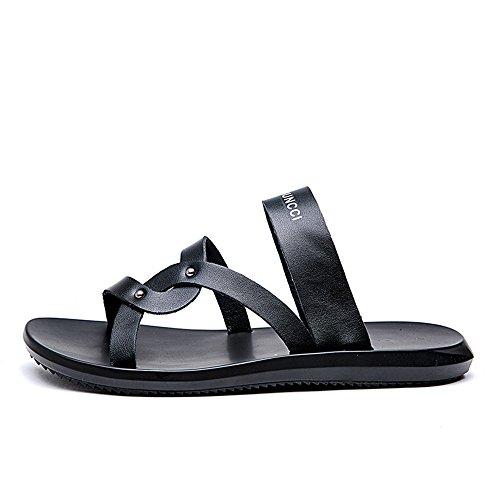da Pantofole Sandali Color da antiscivolo uomo Nero BINODA Nero Dimensione in spiaggia pelle EU 42 vera H4gqwq