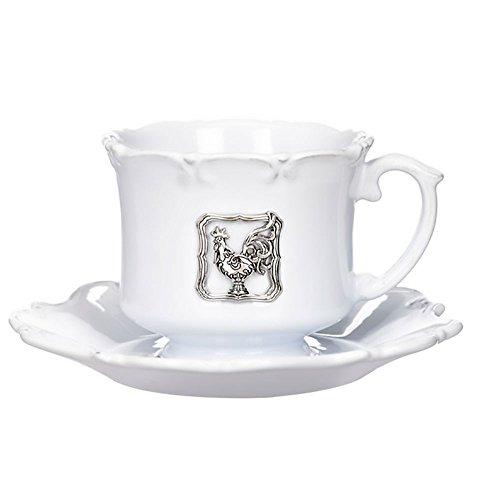 (Ganz Tea Cup Saucers Set Rooster Fancy Silver Floral Medallion Accent Kitchen Teacups Sets White Ceramic Saucer Plate Decor)
