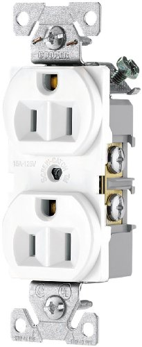 (Eaton BR15W-SP-L 15-Amp, 125-Volt Commercial Grade Back and Side Wire Duplex Receptacle, White)