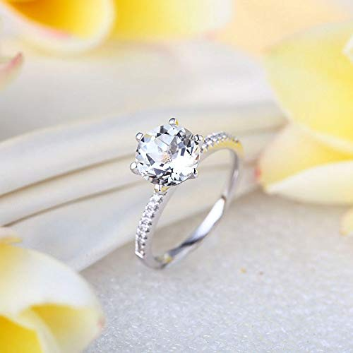 14K White Gold Wedding Engagement Ring 2 CT Topaz 0.12 CT Natural Diamond (0.12 Ct Natural)