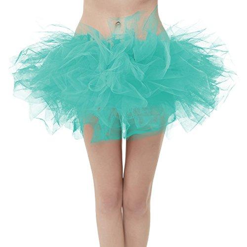 Girstunm Women's Classic Layers Fluffy Costume Tulle Bubble Skirt Mint-Standard -