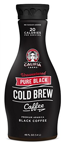 Califia Farms Pure Black Cold Brew Coffee, Unsweetened, 48 Ounce (Pack of 2)