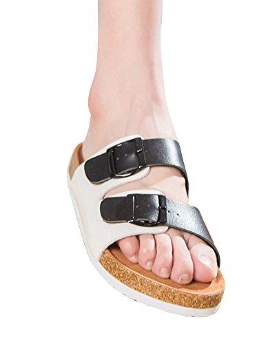 Unisex Flat Sandals Summer Comfort Cork Sole Slip On Beach Shoes With Buckles Black White g5Qqm8