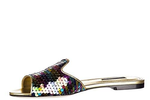 Dolce&Gabbana mules sandales chaussons femme en cuir paillettes or