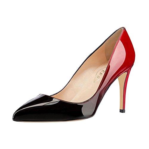 EKS Sexy Pumps, Bout pointu femme rouge/noir