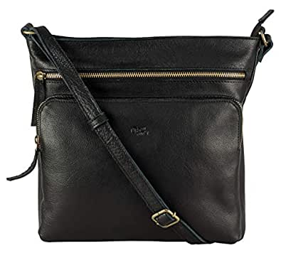 Mou Meraki Premium Genuine Leather Large Spacious Crossbody Purses and Handbags Women Black Size: One_Size