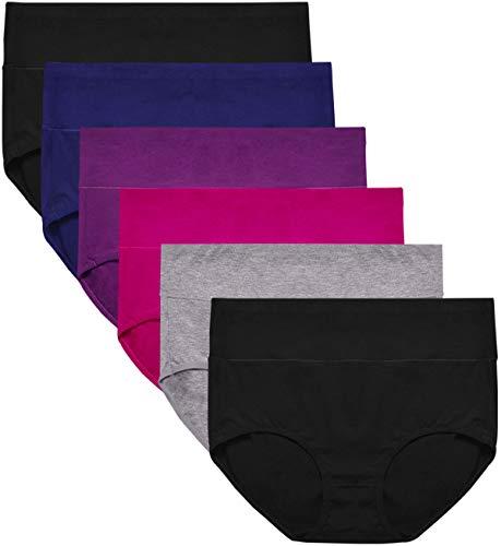 Envlon Womens Cotton Underwear, Mid Waist Soft Breathable Stretchy Ladies Panties Brief Multipack