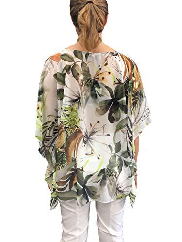Laccetti Quarti in Made Verde Donna Italy Scollo Camicia Maniche V Tre Volant A 84wt6qUx