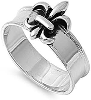 Solitaire Fleur De Lis Ring Sterling Silver 925