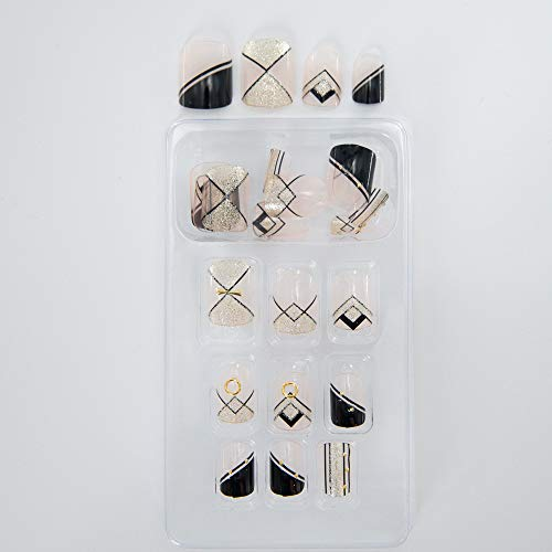Kelly Dawson 24pcs False Nails of Different Design with White,Natural Color and Transparent