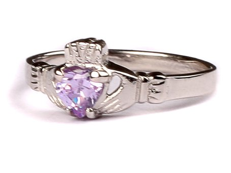 CELTIC SILVER CLADDAGH WITH ALEXANDRITE(LIGHT AMETHYST)JUNE MONTH...