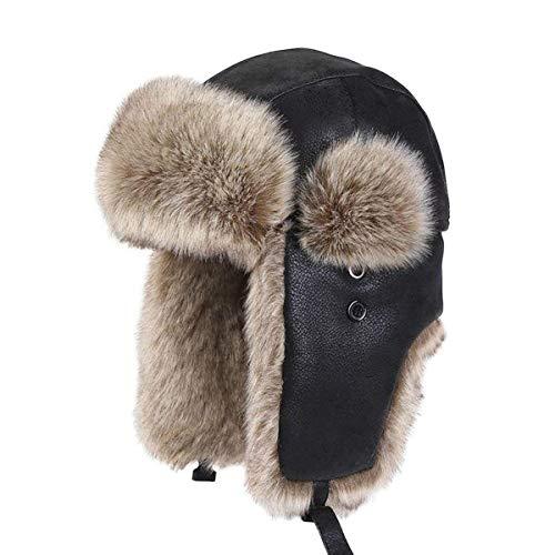 Hombres Bombardero Ruso De Unisex Invierno Sombrero Trapper Piel Negro Trooper Bobolily Al Libre Aire Estilo Especial Caza Gorra 5fqwz0
