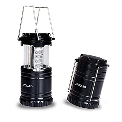 APOLLED Ultra Bright Portable Waterproof LED Camping Lantern Flashlights, Tent Light Flashlight for Hiking, Camping, Emergencies (Black, Collapsible) by APOLLED