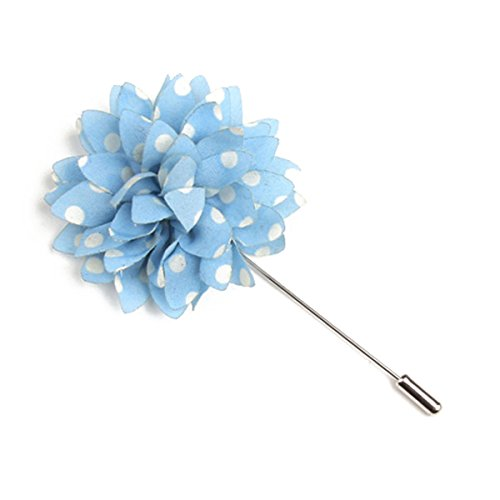 ka Dot Lapel Flower Handmade Boutonniere Pin for Suit (Sky Blue) ()