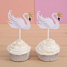Set of 12 White Swan Cupcake Toppers Baby Shower Decors - by Giuffi