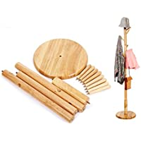 BESTOOL Coat Rack-Wooden Standing Clothes Rack Solid Wood Entryway Free Tree Floor Stand, Jacket Purse Bag and Hat Holder Rack-8 Hooks