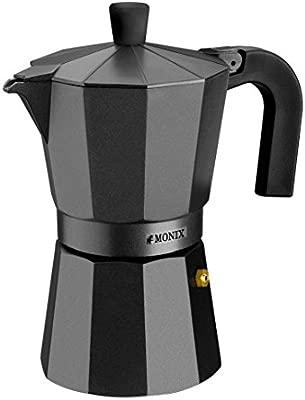 Monix Vitro Noir – Cafetera Italiana de Aluminio, Capacidad 1 Taza, Apta para Todo Tipo de cocinas Salvo inducción