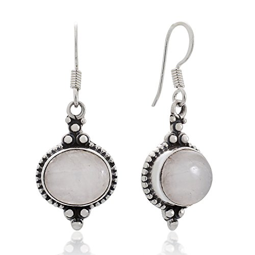 925 Sterling Silver Moonstone Gemstone Indian Inspired Vintage Oval Dangle Hook Earrings 1.5