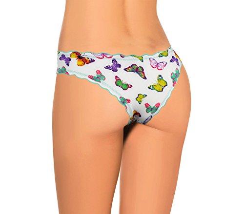 9956 Pack 12 slip brasiliana drappeggiato con farfalle in quattro colori. MEDIA WAVE store ® (S/M)