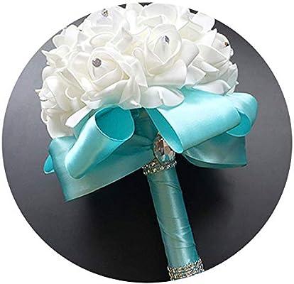 Min 2019 Handmade Tiffany Blue Bridal Bridesmaid Flower Wedding