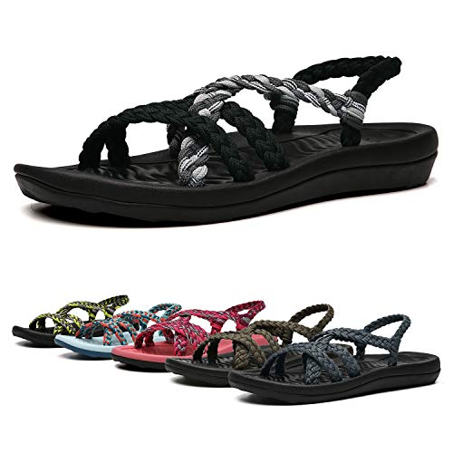 Athletic Waterproof Heels - EAST LANDER Women's Comfortable Flat Walking Sandals with Arch Support Waterproof for Walking/Hiking/Travel/Wedding/Water Spot/Beach. 19ZDEA02-W17-8 Black Grey