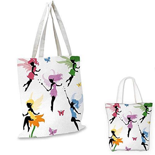 Princess Fairy Canvas - Fantasy canvas shoulder bag Cute Pixie Spirit Elf Fairies Flying with Butterflies Girls Princess Flowers Design canvas lunch bag Multicolor. 13