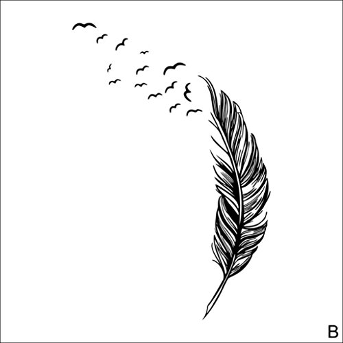 BCDshop Wall Sticker, Birds Feather Bedroom Living Room Home Decal Mural Art Decor Decoration (Black)