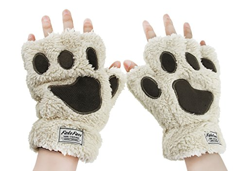 FakeFace Womens Girls Cat Claw Bear Paw Fingerless Winter Plush Wrist Gloves