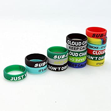 22 mm Silicone Vape Bands (Pack of Five Rings Various Slogans) Protect rdas rbas RTAS Mechanical Mods Non Slip/Non Toxic Silicone uksellingsuppliers: ...