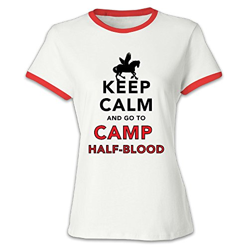 Women's Keep Calm And Go To Camp Half Blood Baseball Tee Shirt Red (Logan Lerman Merchandise compare prices)