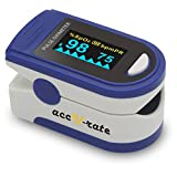 Acc U Rate Pro Series CMS 500D Deluxe Fingertip Pulse Oximeter Blood Oxygen Saturation Monitor with silicon cover, batteries and lanyard, Sapphire Blue