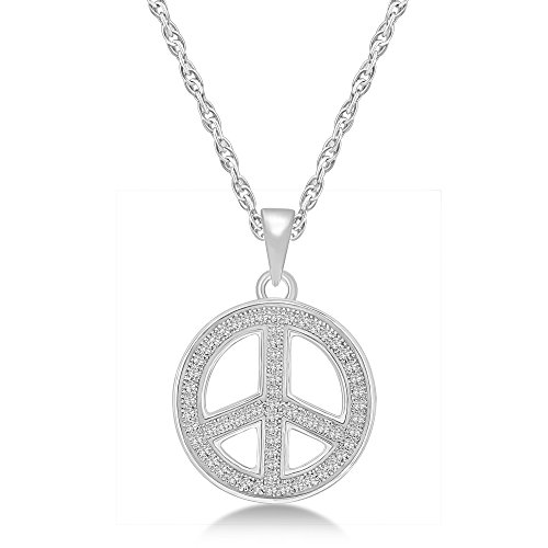 Glamora Jewels Women's 925 Sterling silver White 0.19 cttw Round cut Natural Diamond (H-I Color,I2 Clarity) Peace Pendant Necklace with Chain - Diamond Peace Pendant