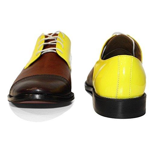 PeppeShoes Modello Toto - Handgemachtes Italienisch Leder Herren Gelb Oxfords Abendschuhe Schnürhalbschuhe - Rindsleder Weiches Leder - Schnüren