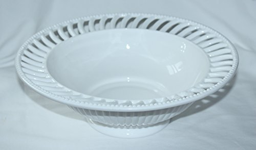 (Vintage 1950s Imperial Milk Glass BEADED RIM Fruit Bowl)