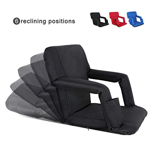 Nova Microdermabrasion Portable Stadium Seat Chair Reclining Seat for Bench Bleachers W/Padded Cushion Shoulder Straps - 6 Reclining Positions - Water Resistant (Black)