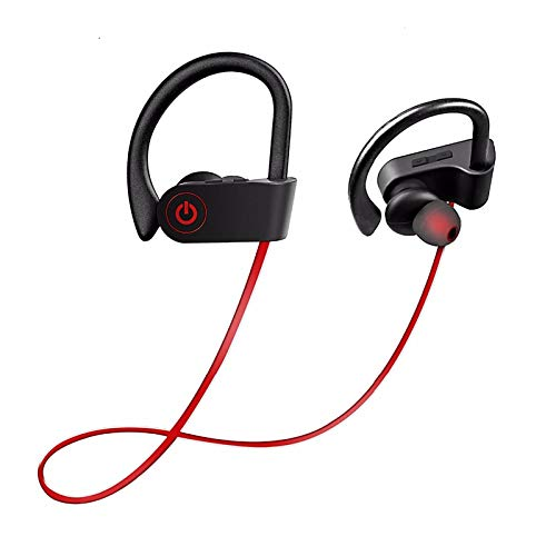 Bluetooth Headphones Mr.Eleven Sport Wireless Earbuds Best Wireless Running Headphones, Wireless Sports Earphones With Mic for Gym Running Workout Noise Cancelling Headsets (Red)